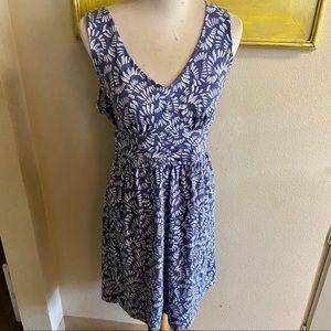 Loft knit dress blue white print sz XL good cond